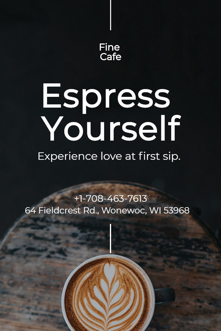 Cafe Coffee Shop Pinterest Pin Template