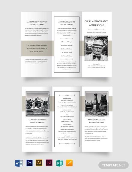 blank funeral mass tri fold brochure template