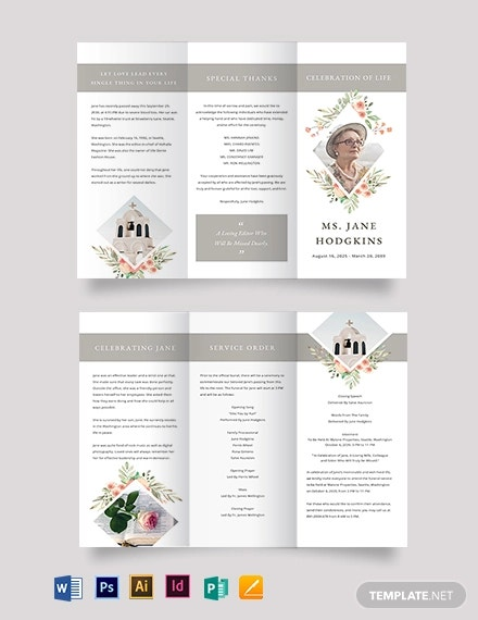 blank life celebration funeral tri fold brochure template