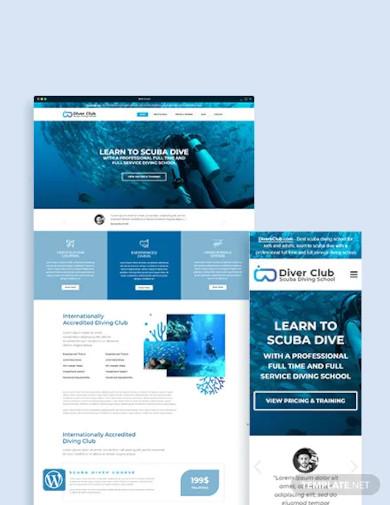free scuba diving school wordpress theme template