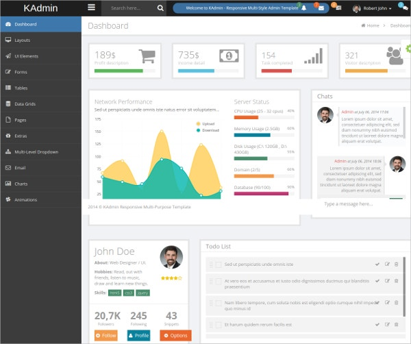 Free Bootstrap Admin CMS Template