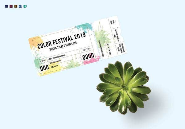 blank festival ticket template