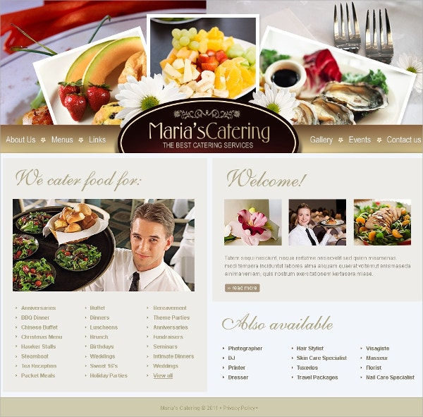 Restaurant & Catering SwishTemplate $35