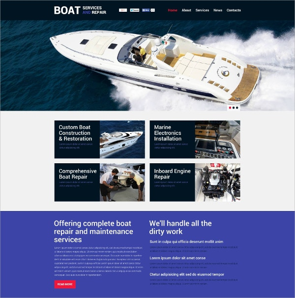 boat services flash website template 59