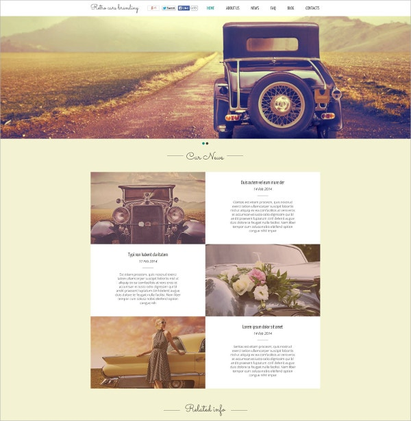 retro car flash website template 59