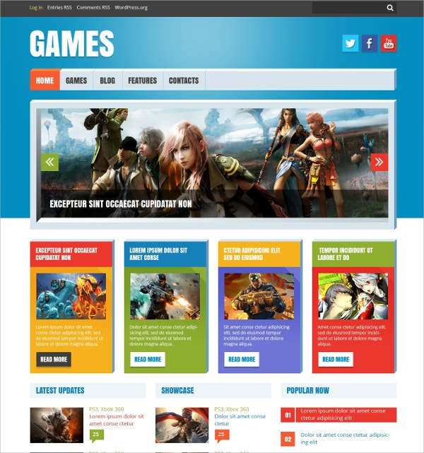 game flash wordpress website theme 45