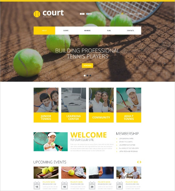 tennis sports flash website template 59