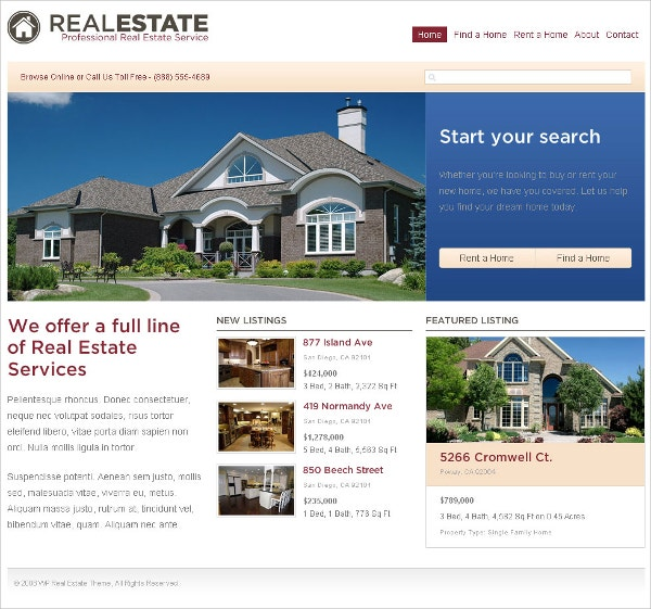 real estate flash website theme 14