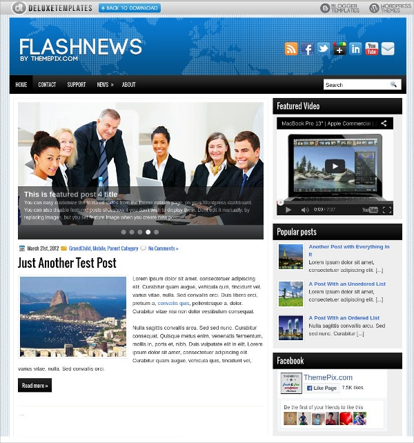 flash news wordpress theme