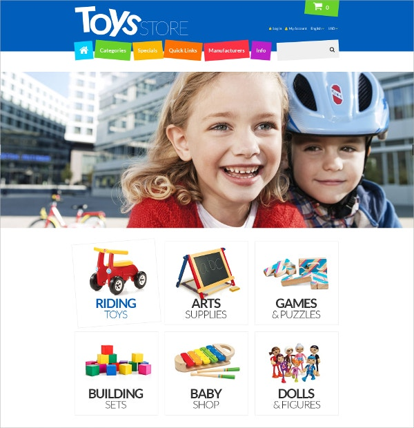 Special Kids Toy eCommerce ZenCart Template $83