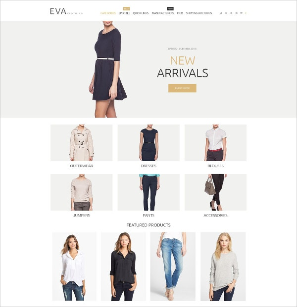 Fashion eCommerce Responsive ZenCart Template $83