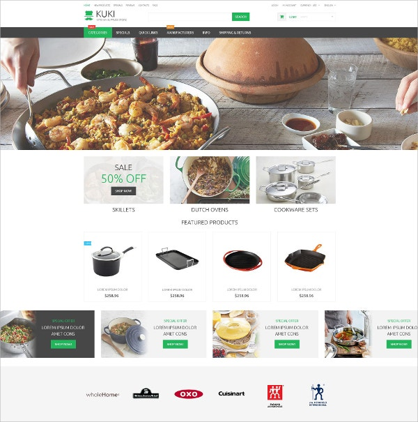 eCommerce Home Made Food ZenCart Template $83