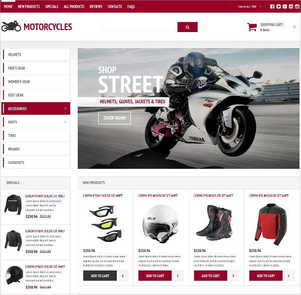 Stylish Bikes eCommmerce ZenCart Template $83