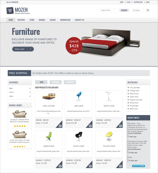 Furniture eCommerce Responsive Zencart Template $48