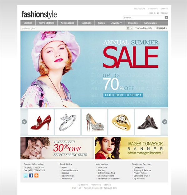 Fashion eCommerce Zencart Theme
