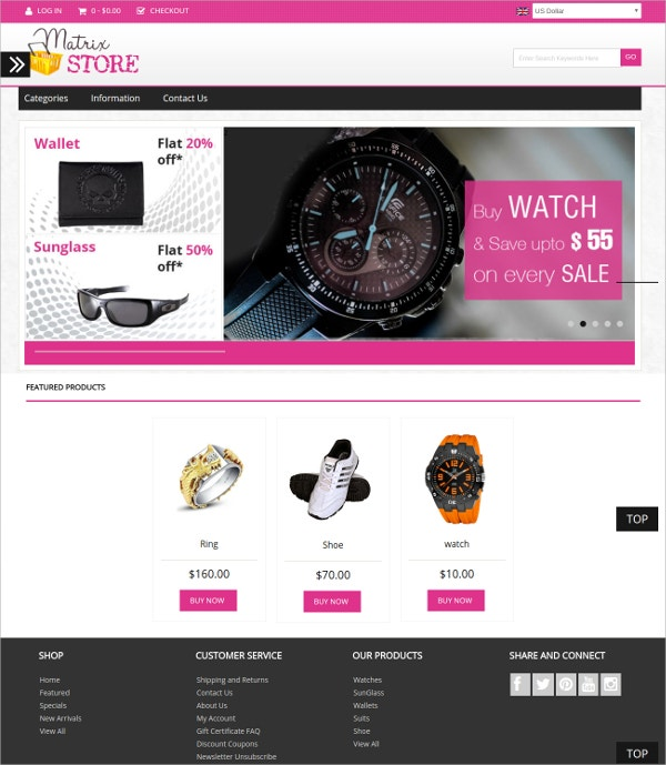 Watch eCommerce Zencart Theme