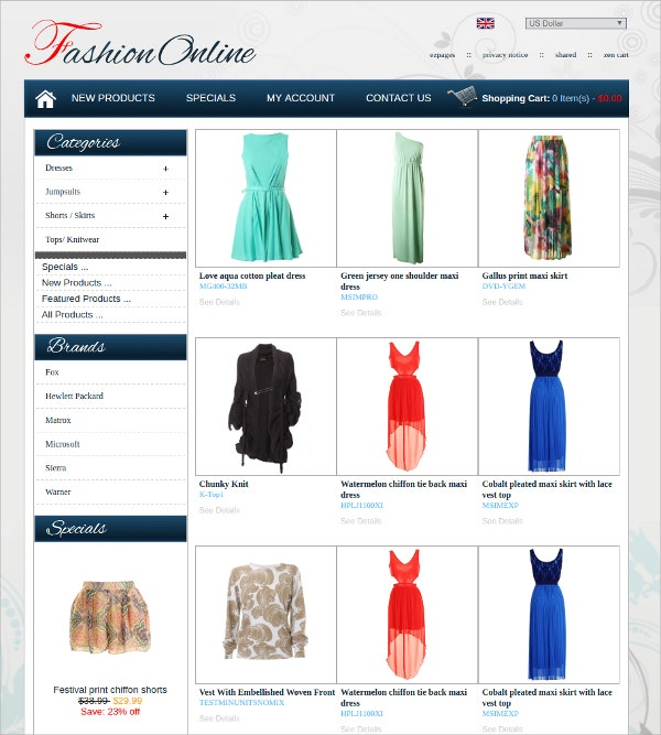 Fashion Online Clothes eCommerce Zencart Theme $39