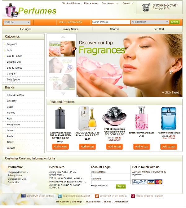 Perfume eCommerce Zencart Theme $39