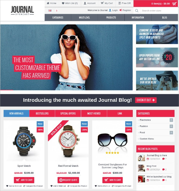 Design eCommerce Opencart Theme $48