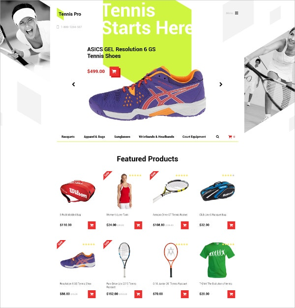 Tennis & Sports Products OpenCart Template $53