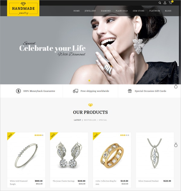 Diamond Jewelry Responsive OpenCart Theme $48
