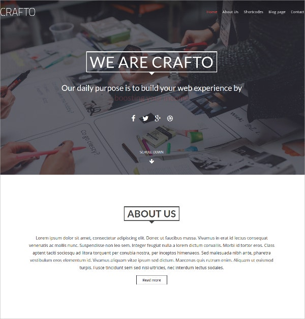 Parallax One Page WordPress Css3 Theme $32