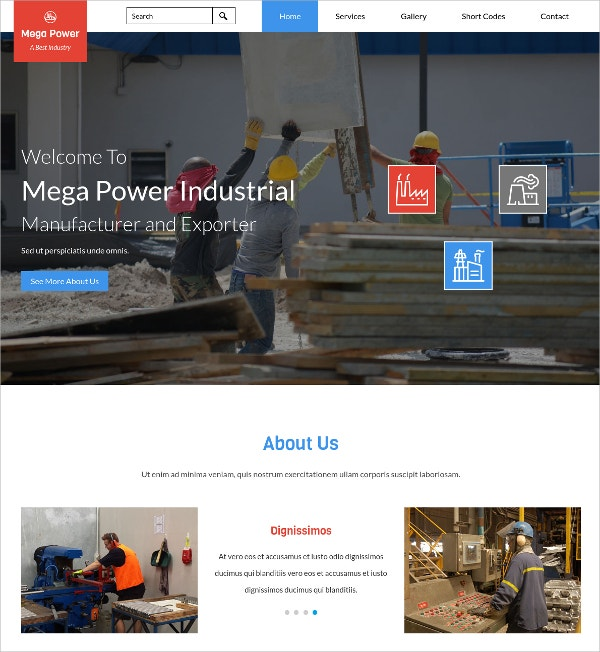 Free Industrial Category Bootstrap Responsive Css3 Template