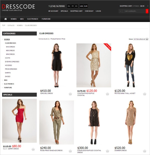 Responsive Clothes osCommerce Theme $58
