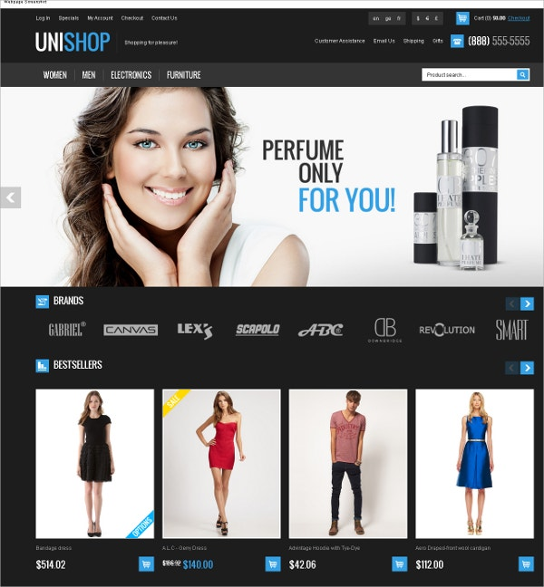 Fashion Responsive OSCommerce Theme $58