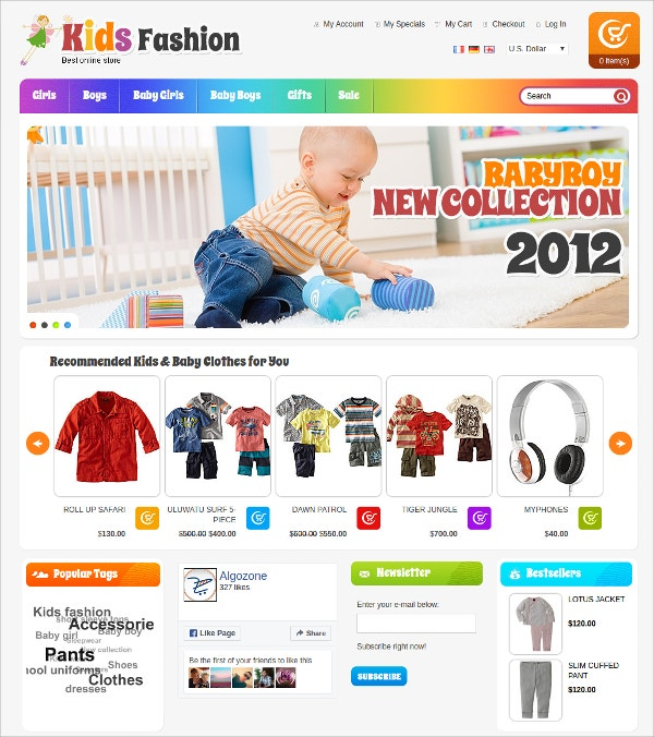 Kids Fashion OSCommerce Theme $39