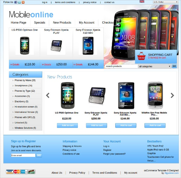 Gadget OSCommerce Theme $39