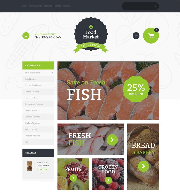 Food Store eCommerce VirtueMart Template $83