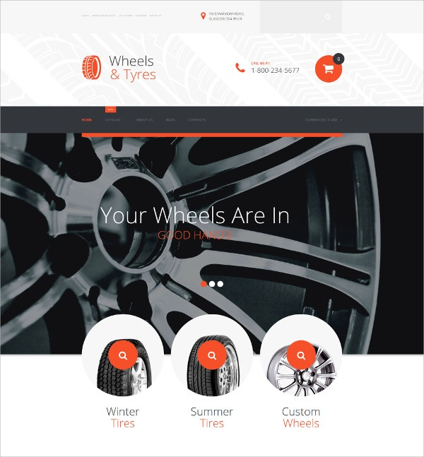 Wheels & Tires eCommerce VirtueMart Template $83
