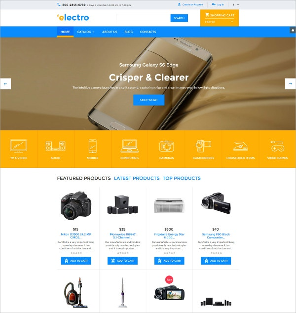 Electro eCommerce VirtueMart Template $83