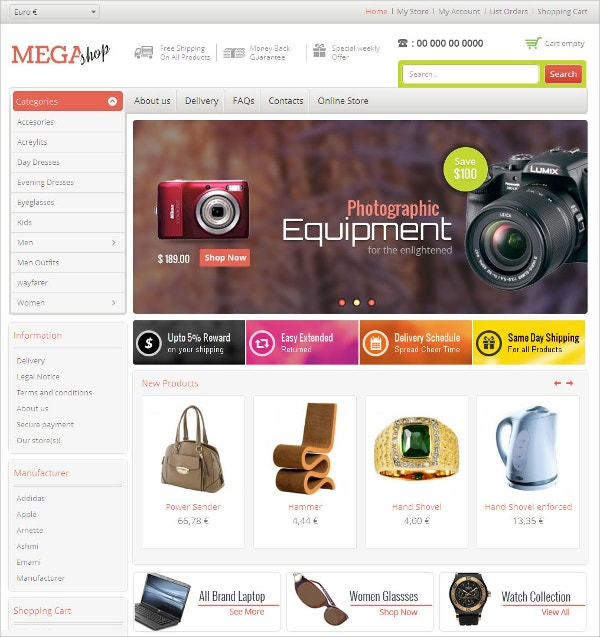 Fashion eCommerce VirtueMart Responsive Theme $53