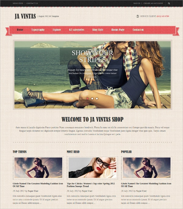 Elegant eCommerce Joomla Virtuemart Template
