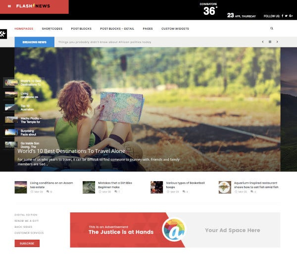 flash newspaper wordpress theme
