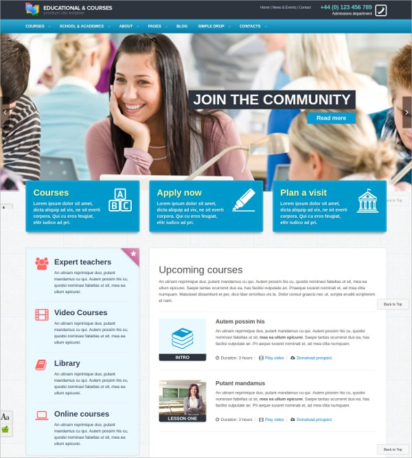 Educational, Courses Ajax PHP Theme $17