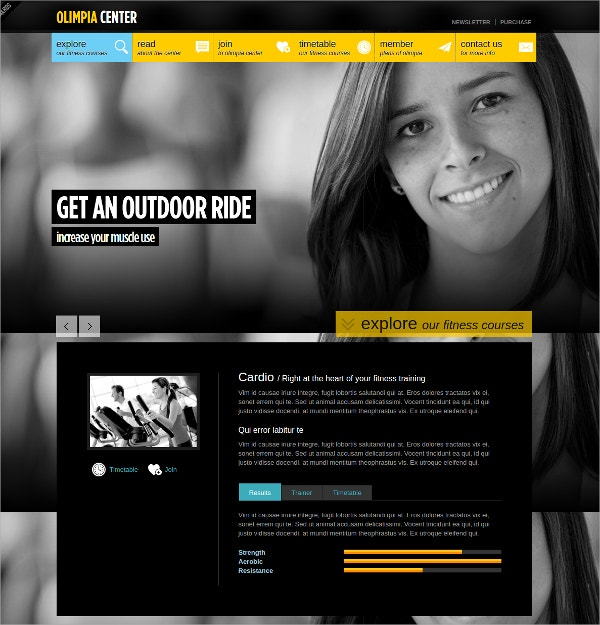 responsive fitness center ajax php template 17
