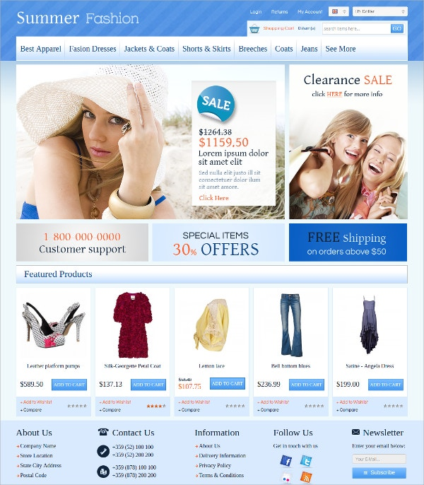 Summer Fashion Algozone Opencart Template