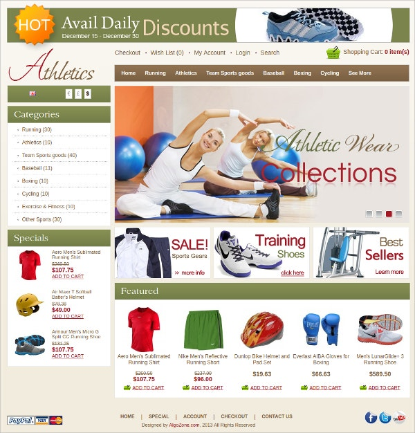 Athletics Algozone Opencart Theme