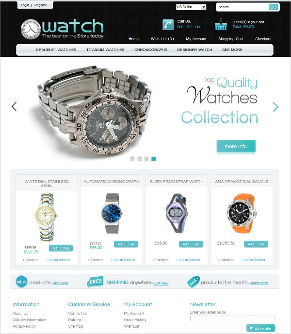 Best Watch Online Store Algozone Opencart Theme