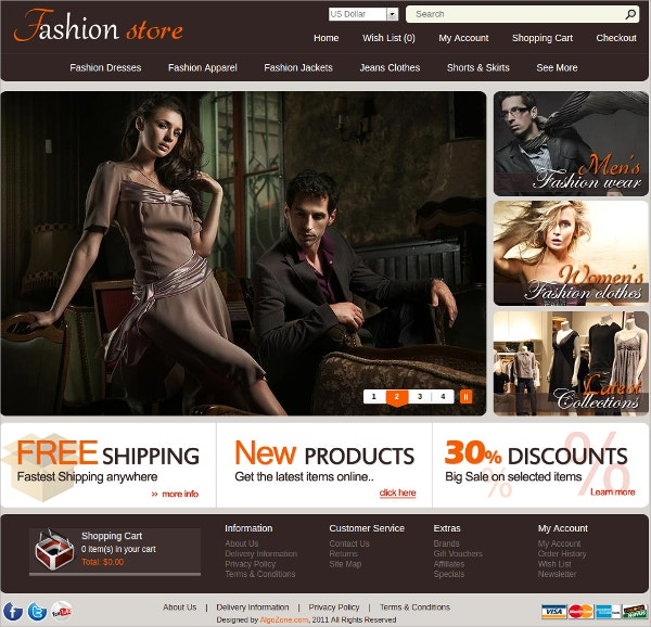 Fashion Store Dresses Algozone Opencart Theme