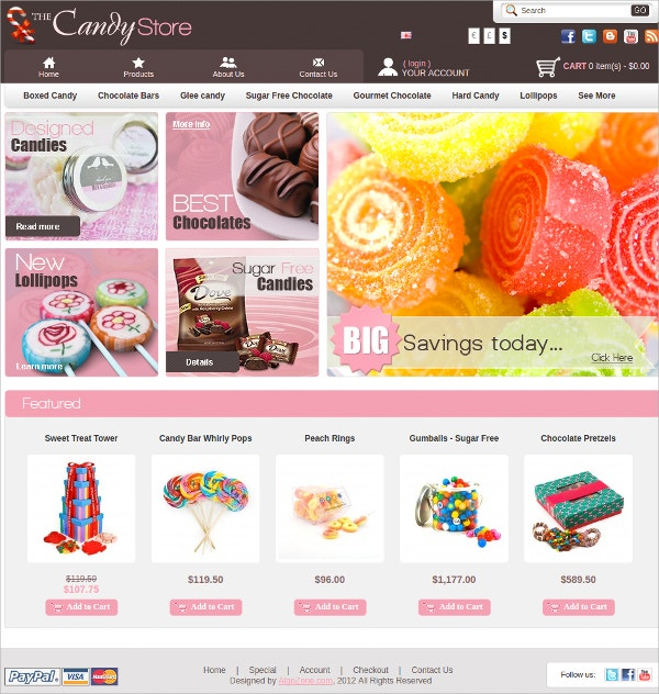 candy store algozone opencart theme