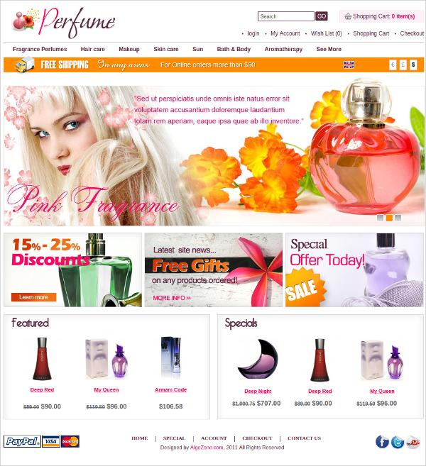 Perfume Algozone Opencart Theme