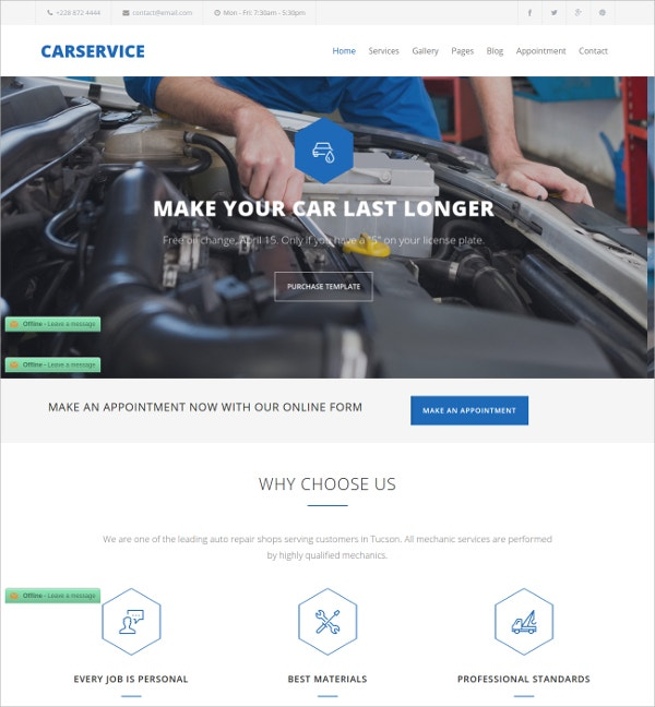 Mechanic Automative Joomla Template $48