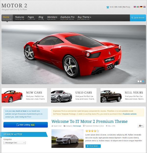 Motor Cars Automative Joomla Template