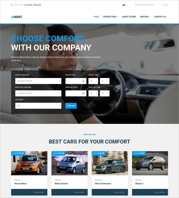 Responsive Automative Joomla Template For Vehicles Rental Service