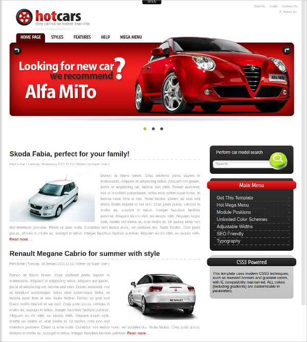 automative joomla cars template