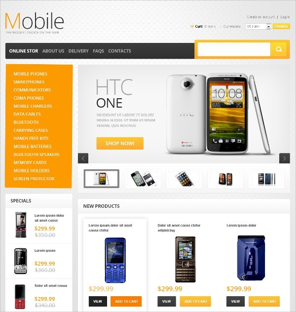 Mobile Phones Online Store VirtueMart Template $139